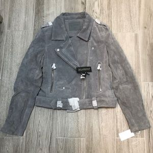 NWT Blank NYC Gray Suede Moto Jacket
